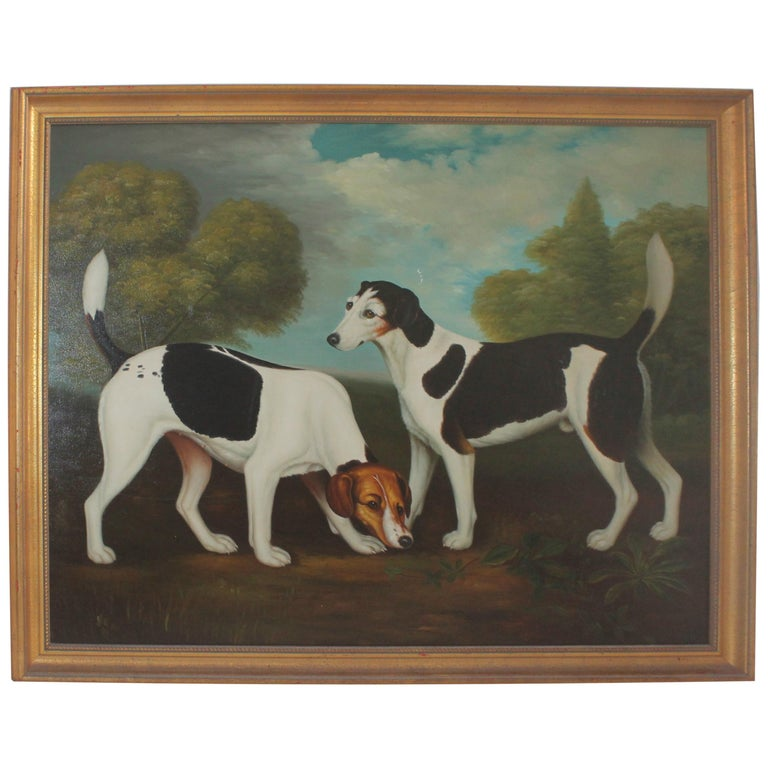 Monumental Hunting Dog Oil Painting / Unsigned For Sale
