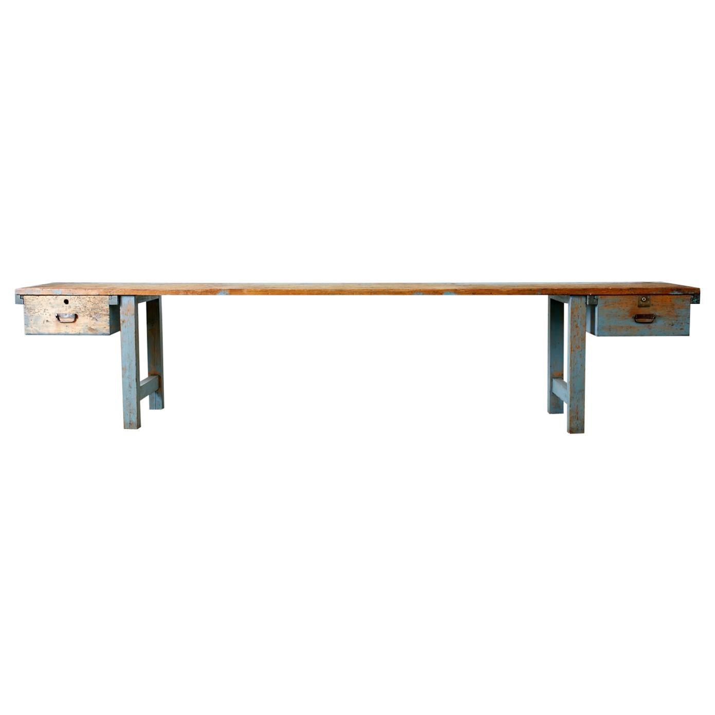 Monumental Industrial American Pine Carpenter's Workbench