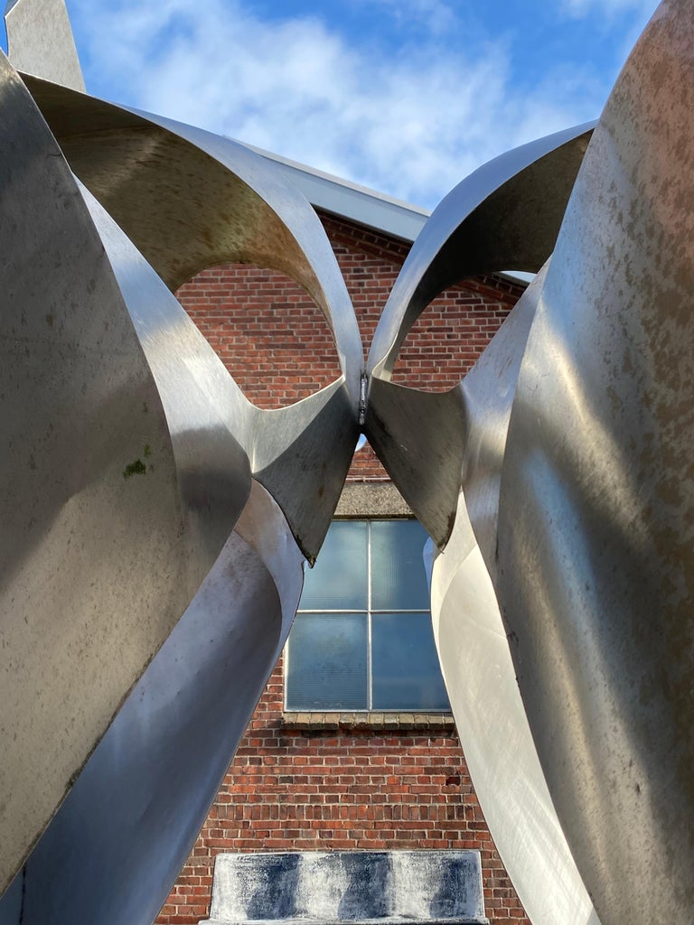 Stainless Steel Monumental Inox Sculpture by Dutch Artist Diet Wiegman, circa 1970 For Sale