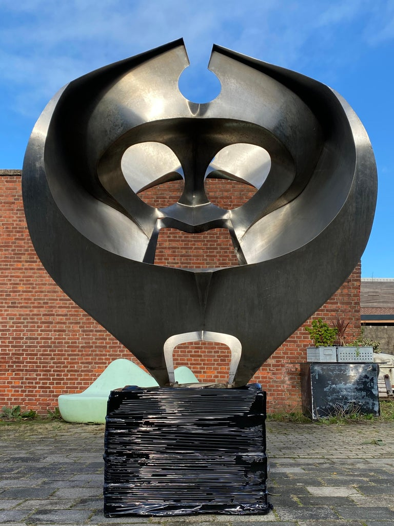 Monumental Inox Sculpture by Dutch Artist Diet Wiegman, circa 1970 For Sale 1