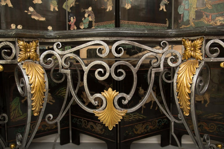 Monumental Iron Console with Gilt Decoration In Good Condition For Sale In WEST PALM BEACH, FL