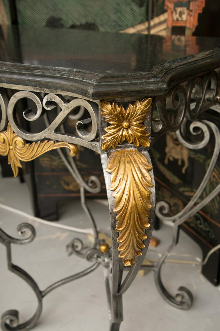 Metal Monumental Iron Console with Gilt Decoration For Sale