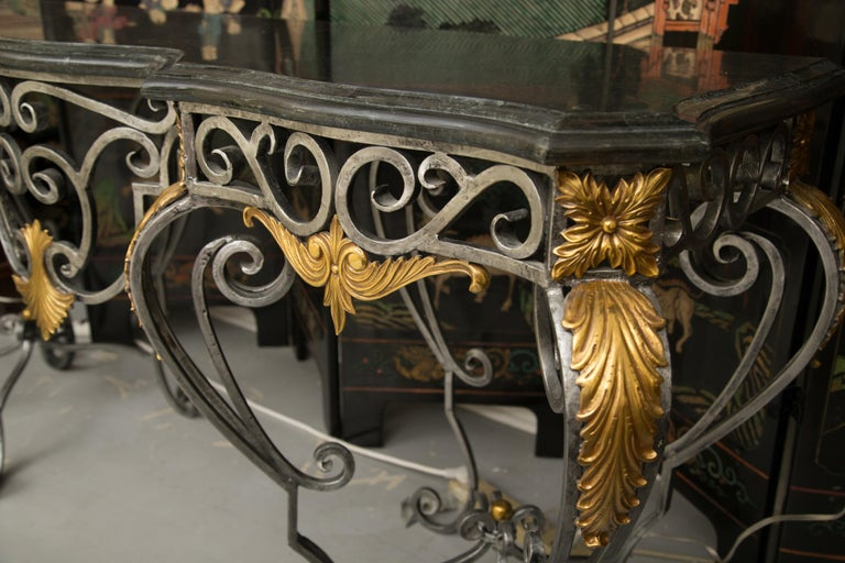 Monumental Iron Console with Gilt Decoration For Sale 1