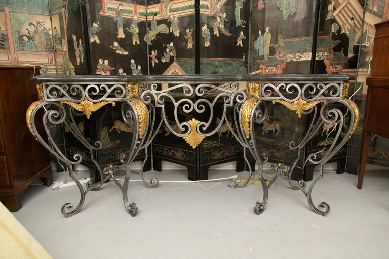 Monumental Iron Console with Gilt Decoration For Sale 2