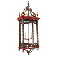 Monumental Iron Lantern with Red Detailing, Belgium, circa 1900