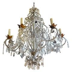 Monumental Italian Beaded and Crystal Eight-Light Chandelier