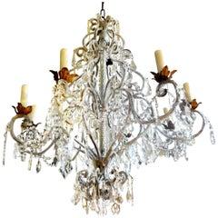 Monumental Italian Beaded and Crystal Eight-Light Chandelier-Maison Baguès Style
