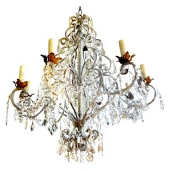 Monumental Italian Beaded and Crystal Eight-Light Chandelier-Maison Baguès Style