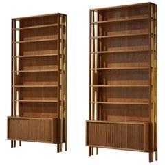 Monumental Italian Bookcases in Mahogany