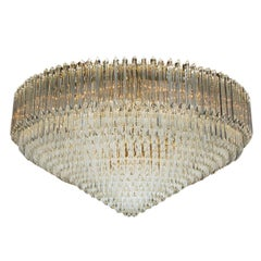 Monumental Italian Brass & Crystal Flush Mount Chandelier by Camer Venini Murano