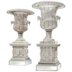 Monumental Italian Cut-Glass and Beaded Vases on Stand, Fitted as Lamps 40s 60s
