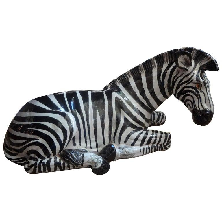Monumental Italian Glazed Terracotta Zebra Figure For Sale