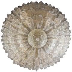 Monumental Italian Gold Leaves Murano Glass Ceiling Light or Flush Mount