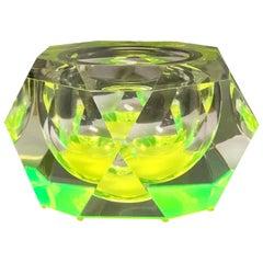 Monumental Italian Green Neon Lucite Ice Bucket, 1970s