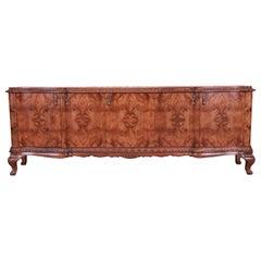 Monumental Italian Louis XV Burled Walnut Sideboard or Bar Cabinet, Refinished