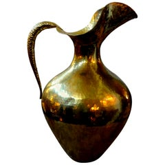 Monumental Italian Modernist Brass Ewer Stamped Egidio Casagrande