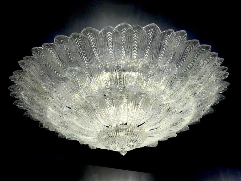 Mid-Century Modern Monumental Italian Murano Glass Ceiling Light or Flush Mount For Sale