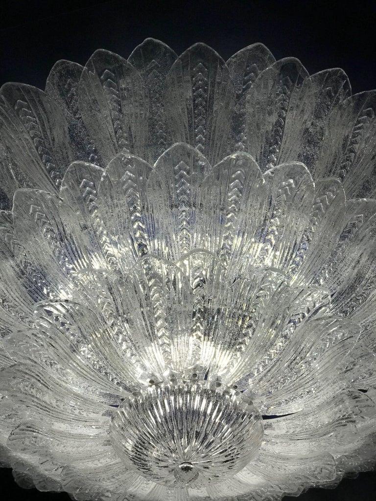 Blown Glass Monumental Italian Murano Glass Ceiling Light or Flush Mount For Sale