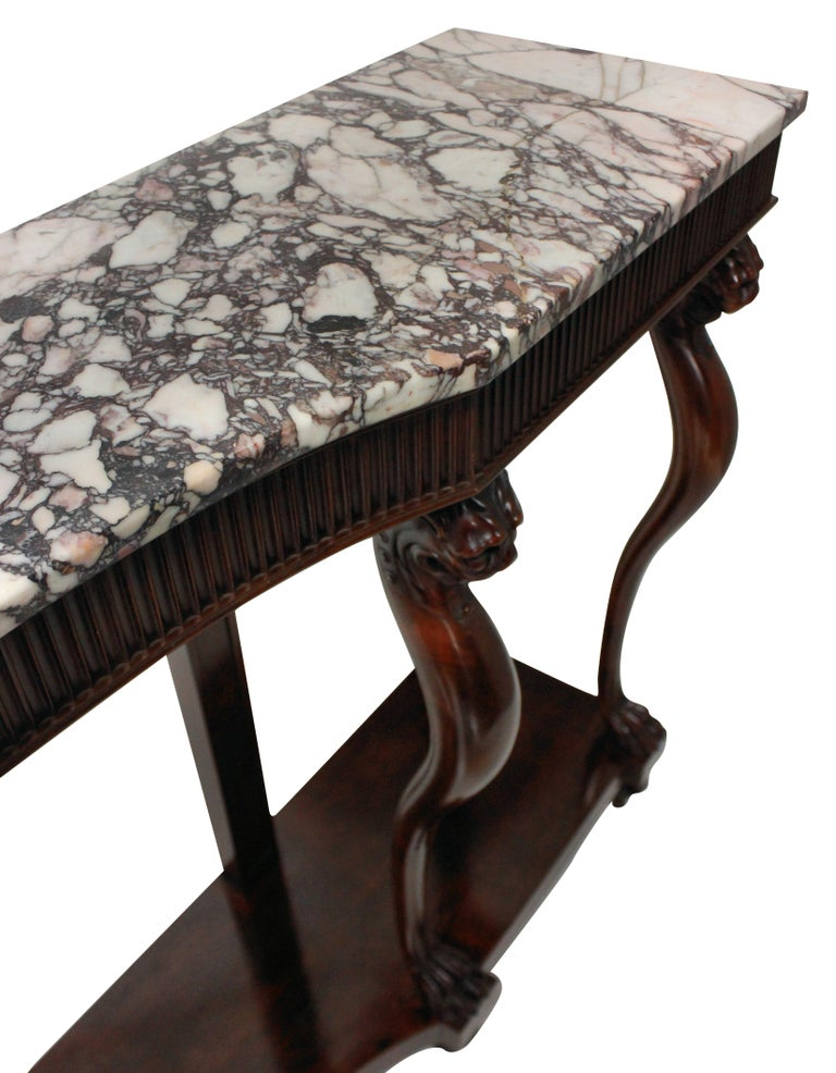Mid-20th Century Monumental Italian Neoclassical Marble-Top Console Table