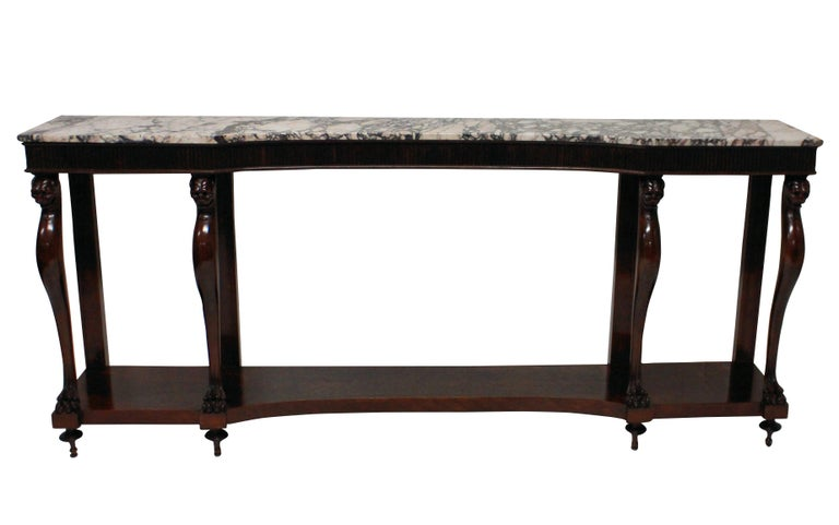 Mahogany Monumental Italian Neoclassical Marble-Top Console Table