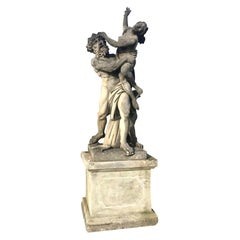 Monumental Italian Stone Sculptural Group of the Rape of Proserpina