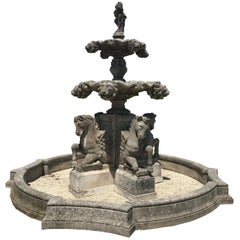 Monumental Italian Water Fountain with Horse Sculptures
