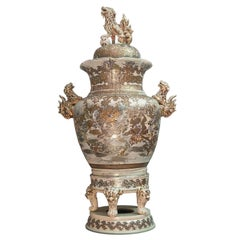 Monumental Japanese Satsuma Vase on Its Stand, Late 19th-Early 20th Century