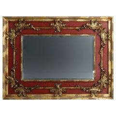 Monumental John-Richard Vermillion Faux Painted & Gilt Over Mantel Mirror 20th C