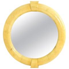 Monumental Karl Springer Inspired Goatskin Mirror