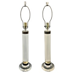 Monumental Karl Springer Lucite and Brass Cylinder Table Lamps