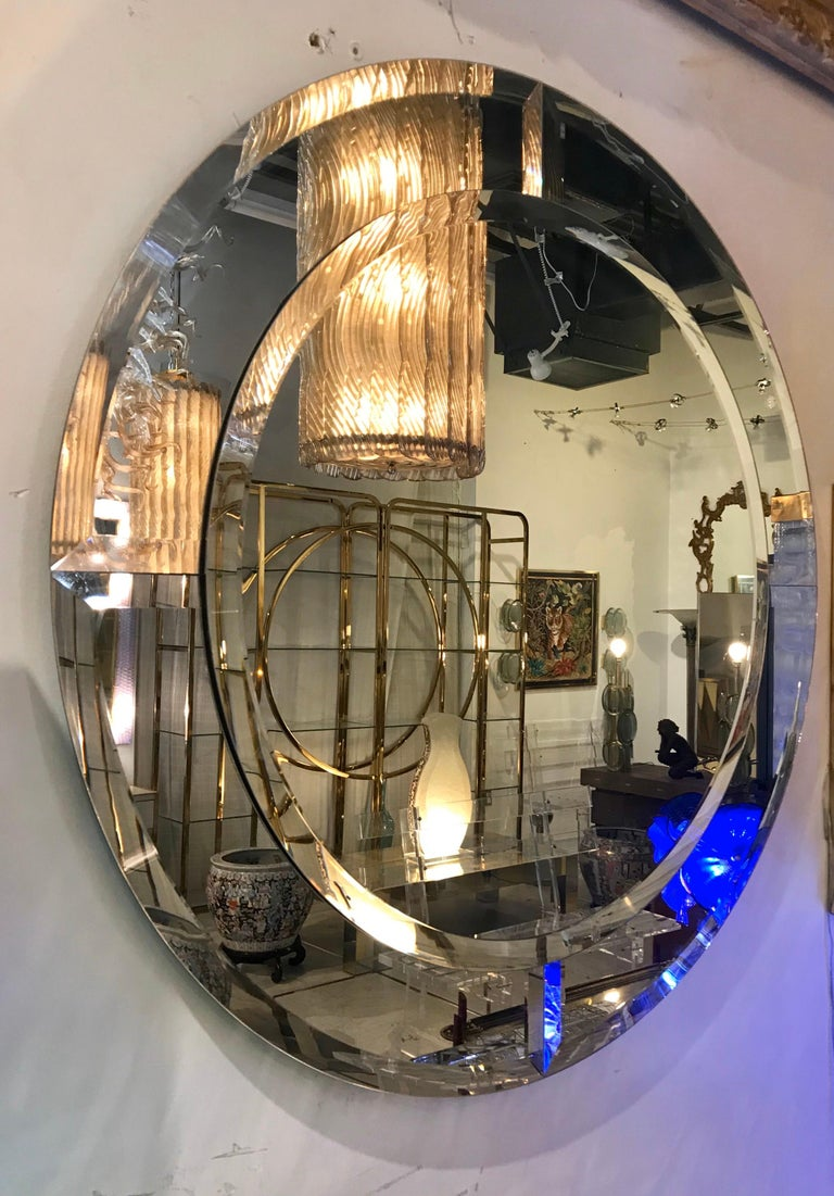 Monumental Karl Springer Saturn Mirror In Good Condition In Miami, FL