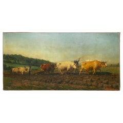 "Monumental Landscape Painting ""Oxen Ploughing in Nivernais"" after Rosa Bonheur"