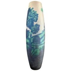 Monumental Large Art Nouveau Etched Glass Vase Vessel Blues and Green