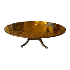 Monumental Large Round Crotch Mahogany Dining Table with Peripheral Leaves