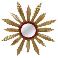 Monumental Large Starburst Sunburst Gilded Wood Mirror, circa 1950s