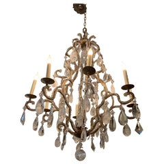Monumental Large Super Glitzy Statement Chandelier with Rock Crystals