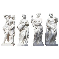 Monumental Larger-Than-Life Set of Four Seasons Hand Carved in Single Blocks
