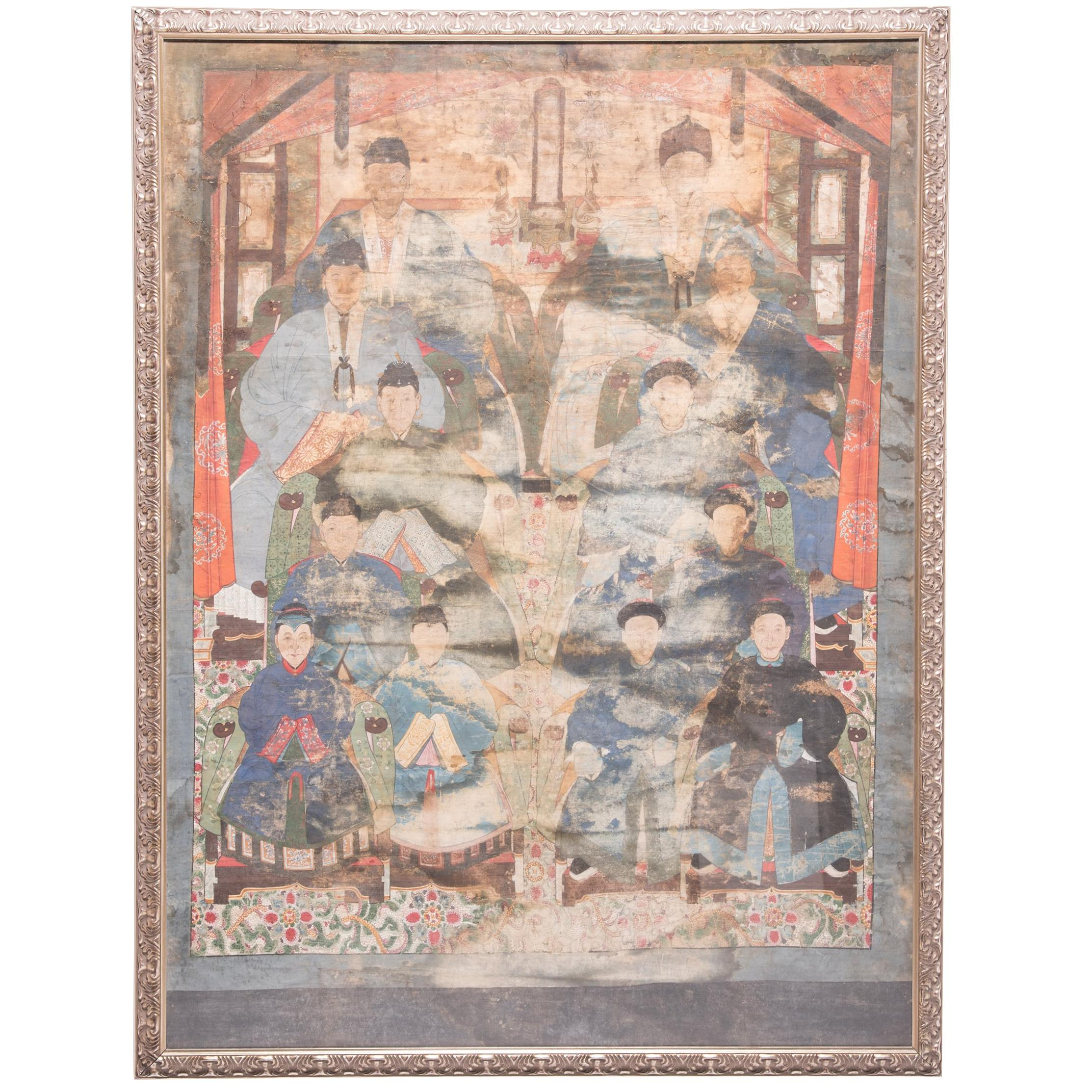 Monumental Late 19th Century Chinese Ancestral Portrait