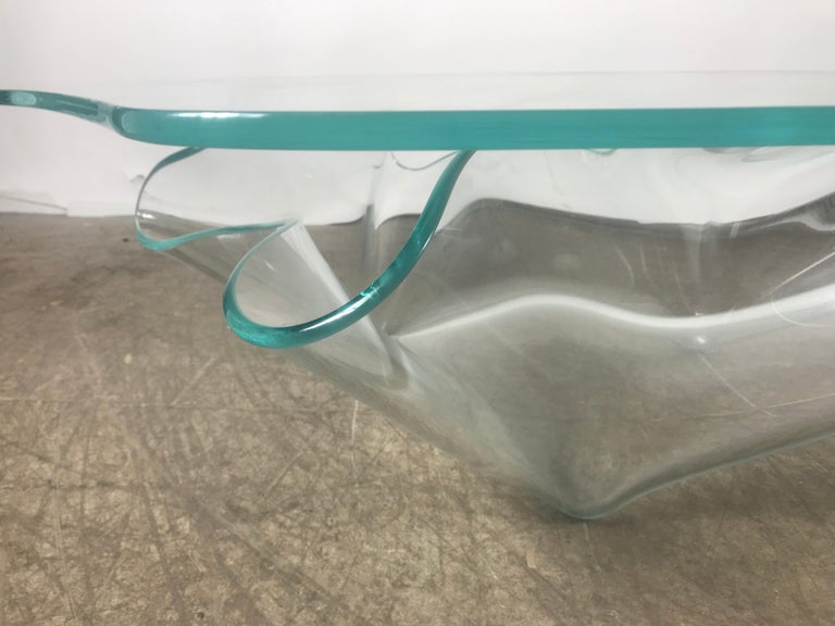 American Monumental Laurel Fyfe Sculptural Blue Glass Handkerchief Coffee Table, Signed For Sale