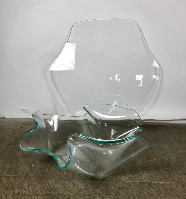 Monumental Laurel Fyfe Sculptural Blue Glass Handkerchief Coffee Table, Signed For Sale 1