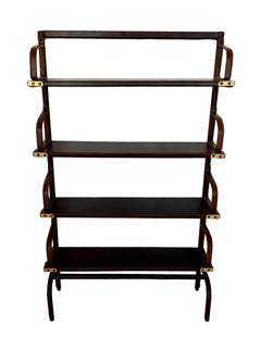 Monumental Leather Bookcases by Jacques Adnet