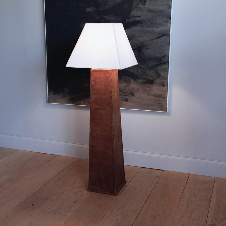 20th Century Monumental Leather Standing Lamp For Sale