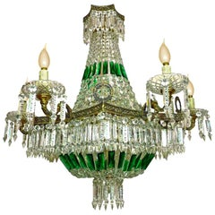 Monumental Louis XV Empire Green Crystal Bronze 15-Light Basket Chandelier