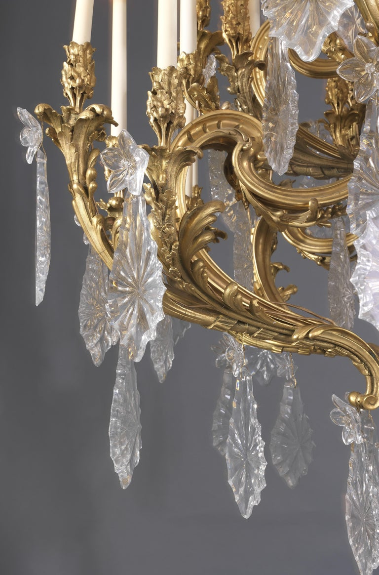19th Century Monumental Louis XV Style Cut-Glass Forty-Eight Light Chandelier, circa 1885 For Sale