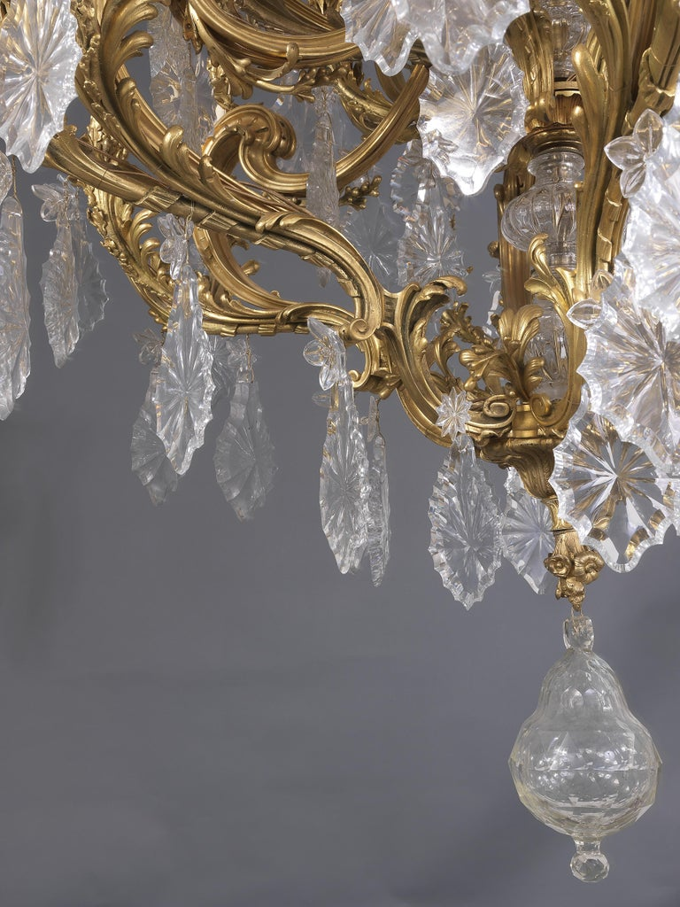 Cut Glass Monumental Louis XV Style Cut-Glass Forty-Eight Light Chandelier, circa 1885 For Sale