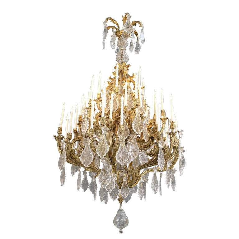 Monumental Louis XV Style Cut-Glass Forty-Eight Light Chandelier, circa 1885 For Sale