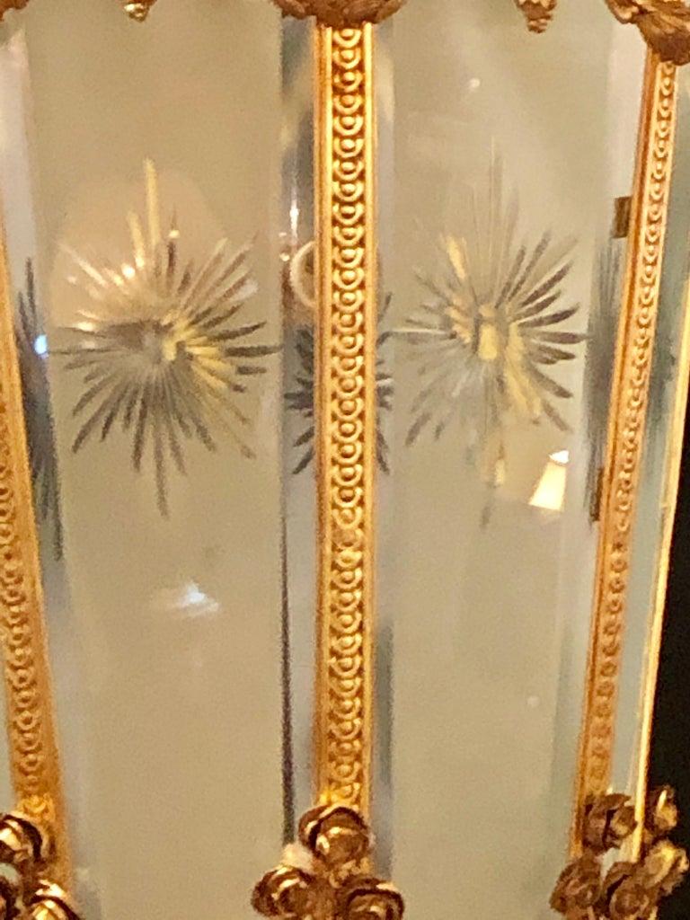 Monumental Louis XVI Style Dore Bronze Large Rams Head Lantern For Sale 4