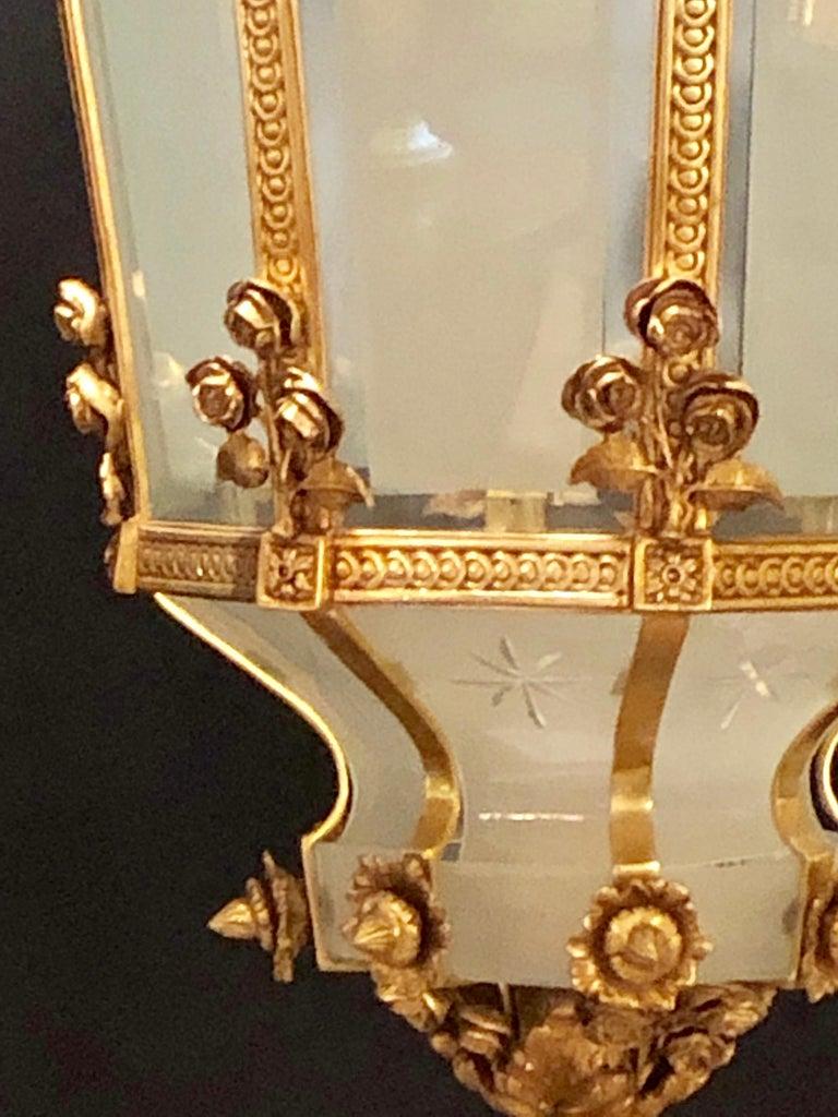 Monumental Louis XVI Style Dore Bronze Large Rams Head Lantern For Sale 5
