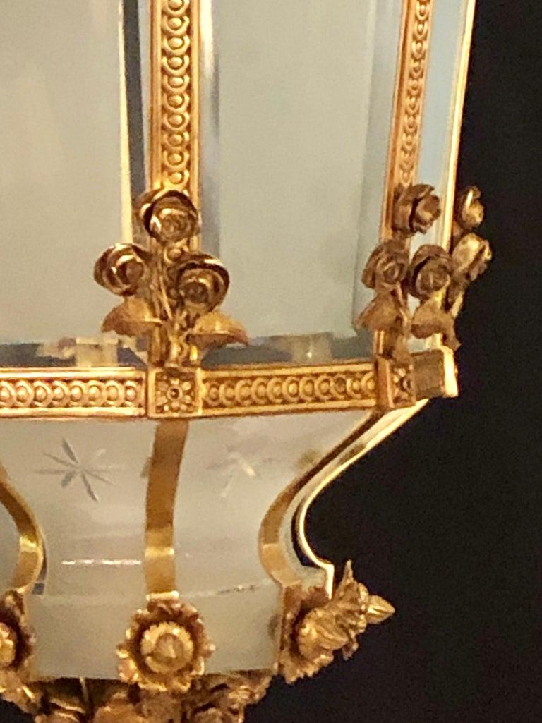 Monumental Louis XVI Style Dore Bronze Large Rams Head Lantern For Sale 6