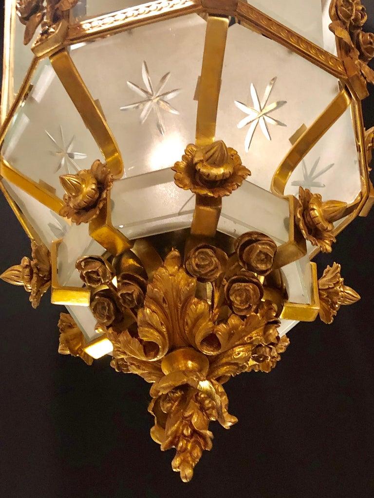 Monumental Louis XVI Style Dore Bronze Large Rams Head Lantern For Sale 8